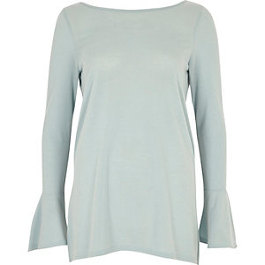 Pale blue flute sleeve top
