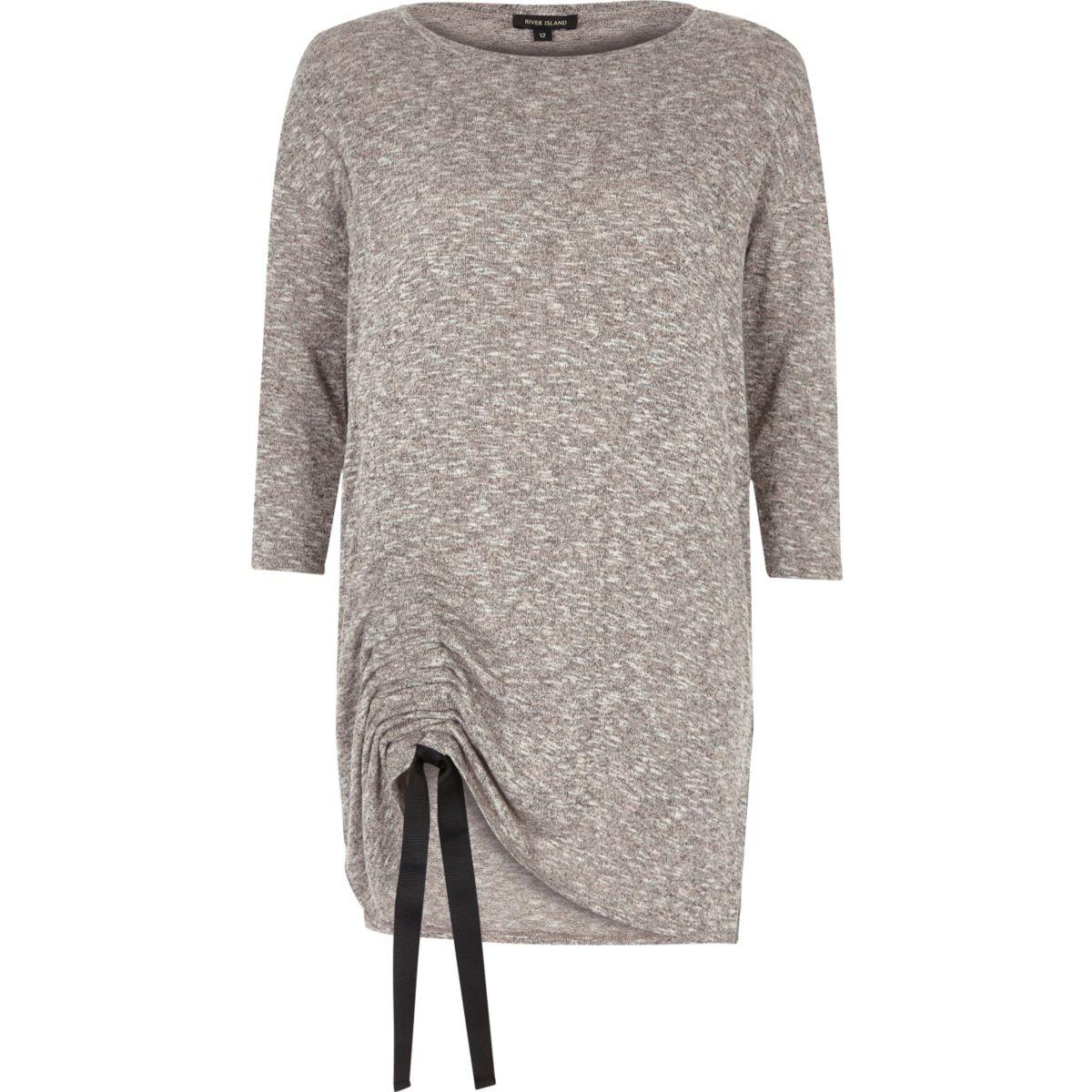 Grey ruched drawstring top