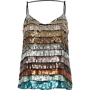 Turquoise multi coloured sequin cami top