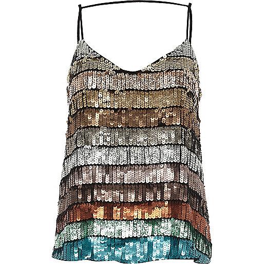 Turquoise multi coloured sequin cami top
