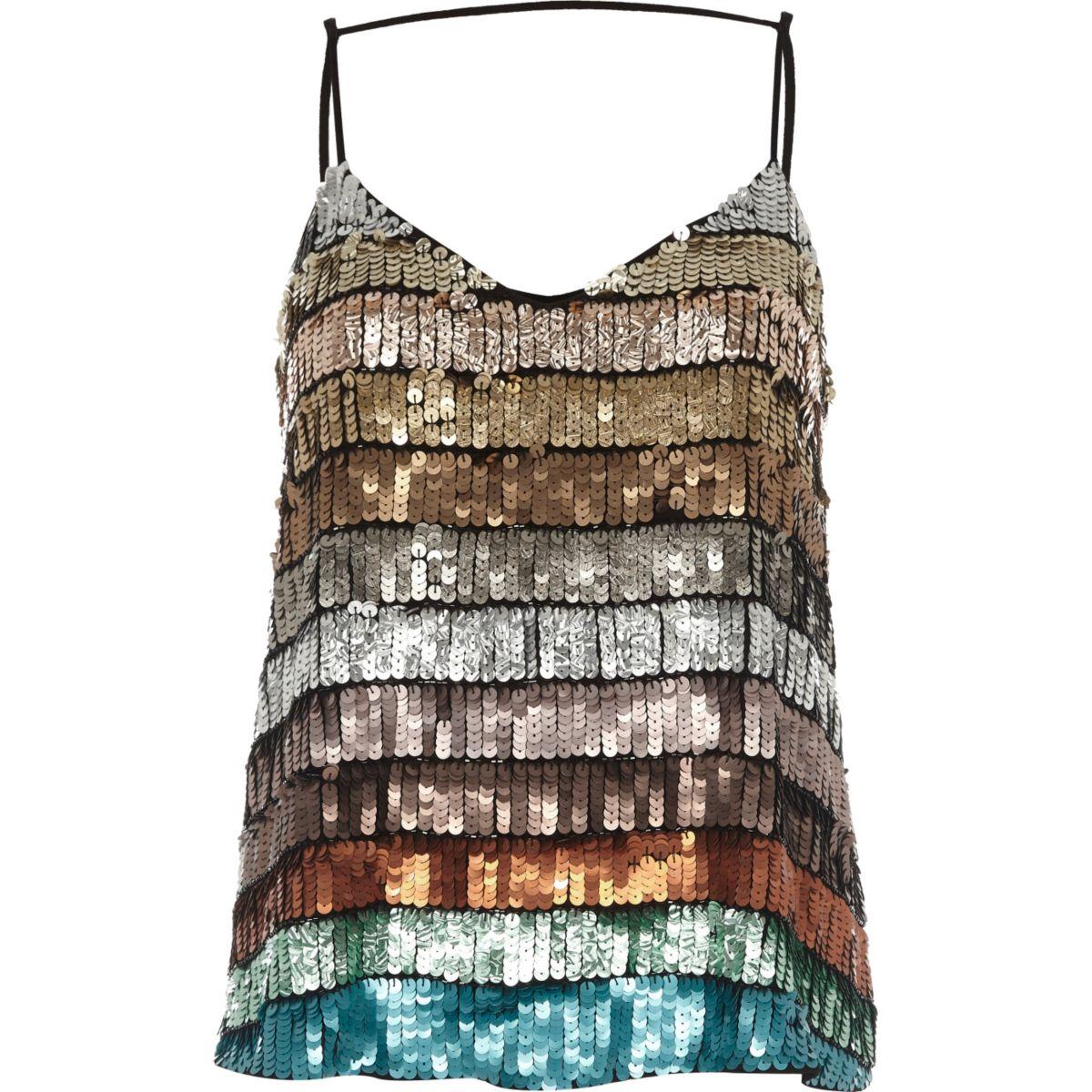 Turquoise multi colored sequin cami top
