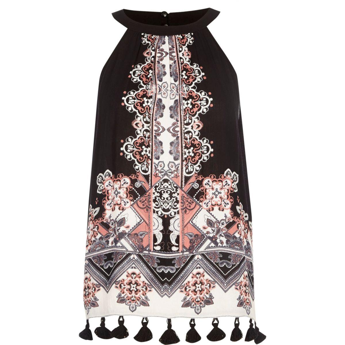 Top à imprimé foulard noir avec col montant et franges