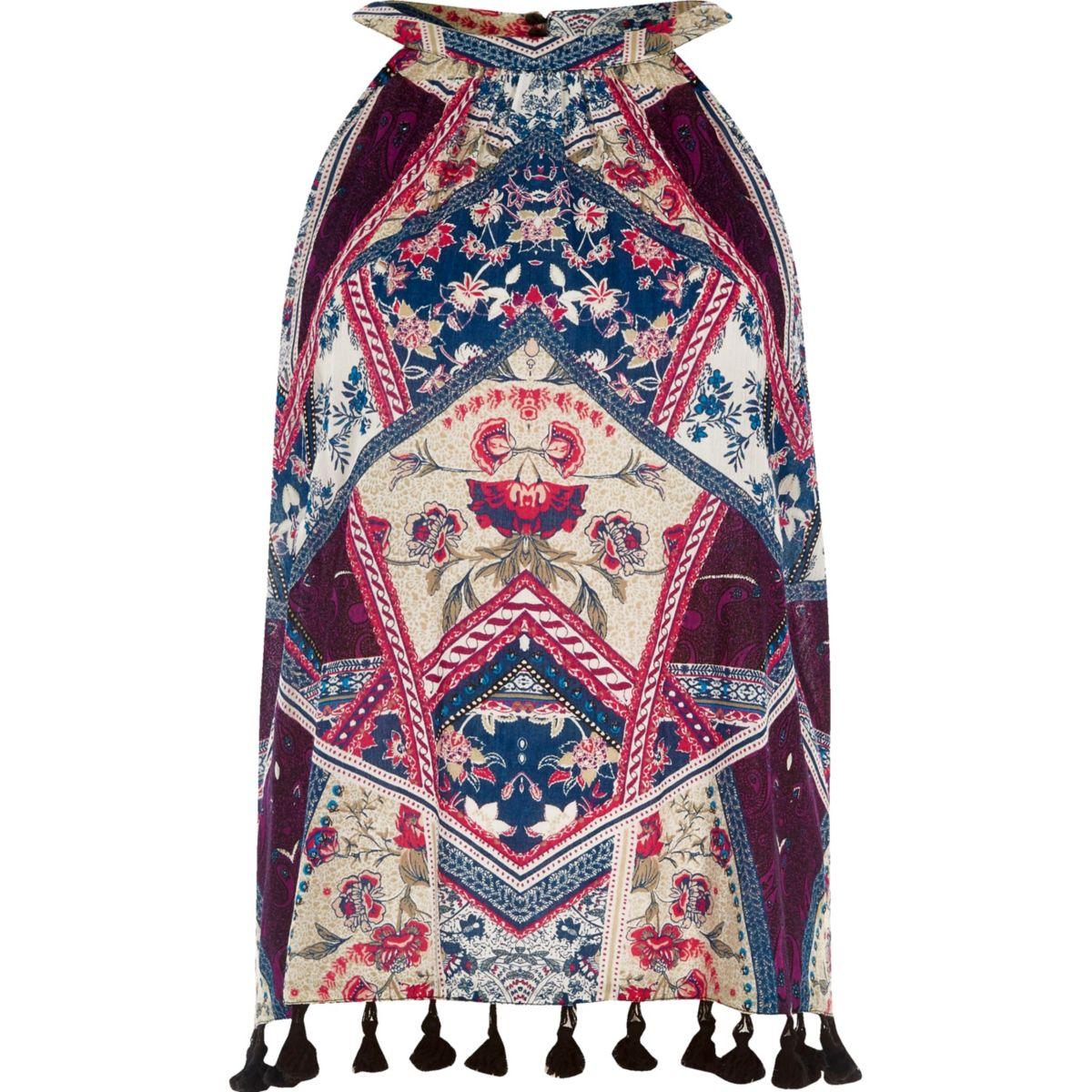 Purple scarf print high neck sleeveless top