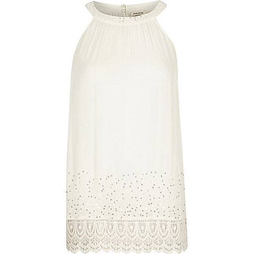 Cream sequin lace hem sleeveless top