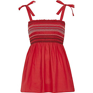 Red shirred tie shoulder cami top