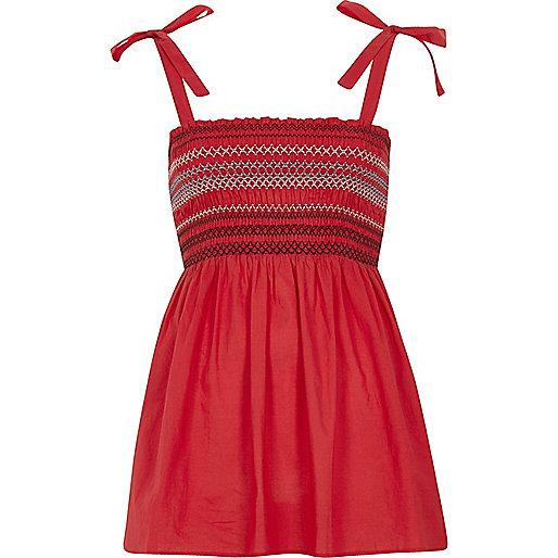 Red shirred tie shoulder cami top