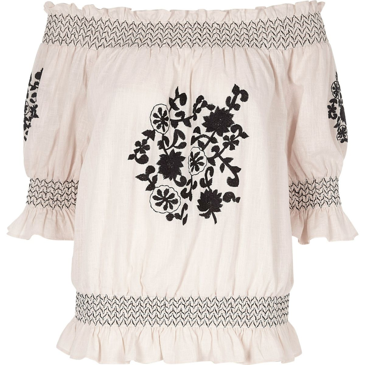 Cream floral embroidered shirred bardot top