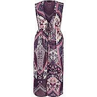 Purple floral sleeveless longline kimono