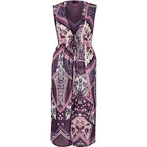 Kimono long à fleurs violet sans manches