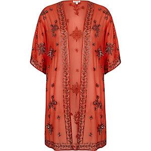 Oranje verfraaide kimono