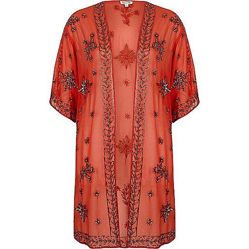 Orange embellished kimono