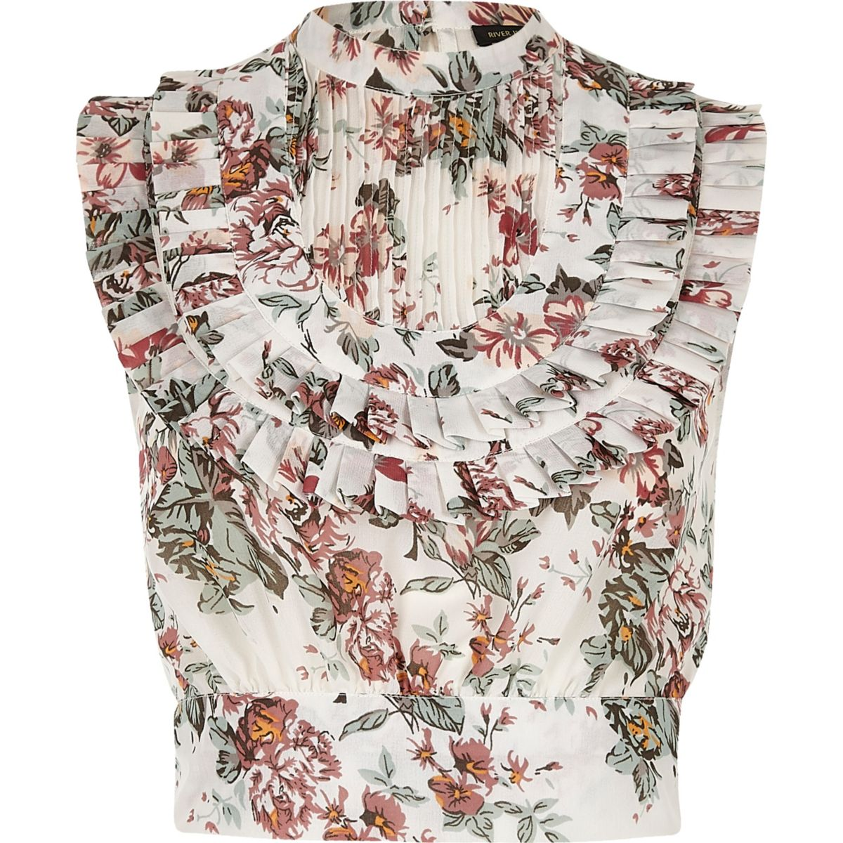 Pink floral print pleated bib crop top