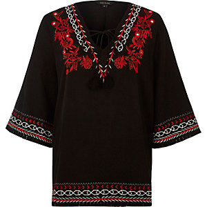 Black embroidered smock top