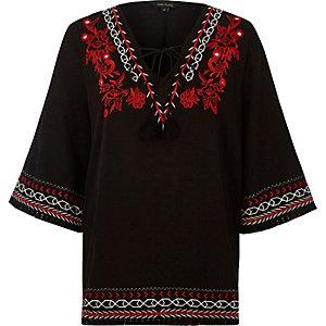 Black embroidered smock top