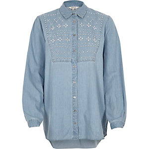 Blue denim embellished shirt