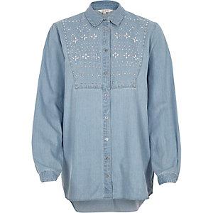 Chemise en jean bleu à ornements