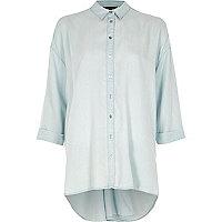 Blue twist back long sleeve shirt