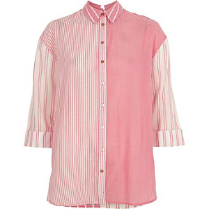 Pink mixed stripe print tie back shirt