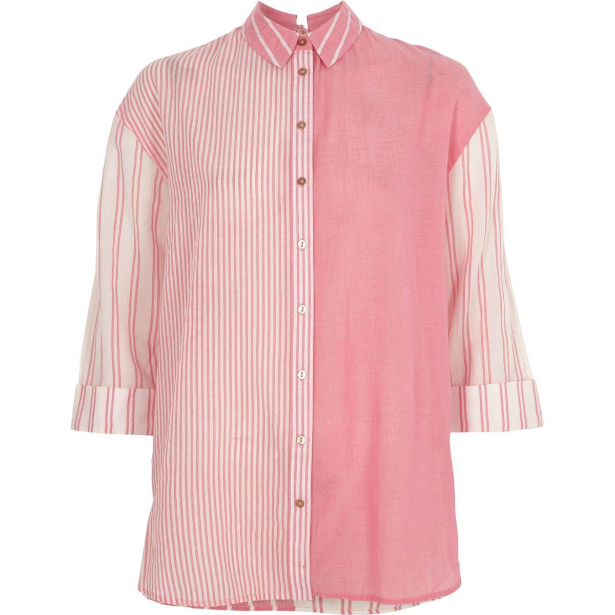 Pink mixed stripe print tie back shirt
