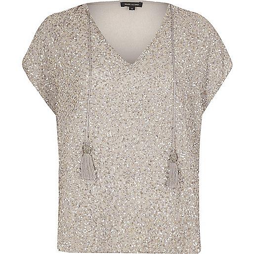 Cream sequin tassel T-shirt