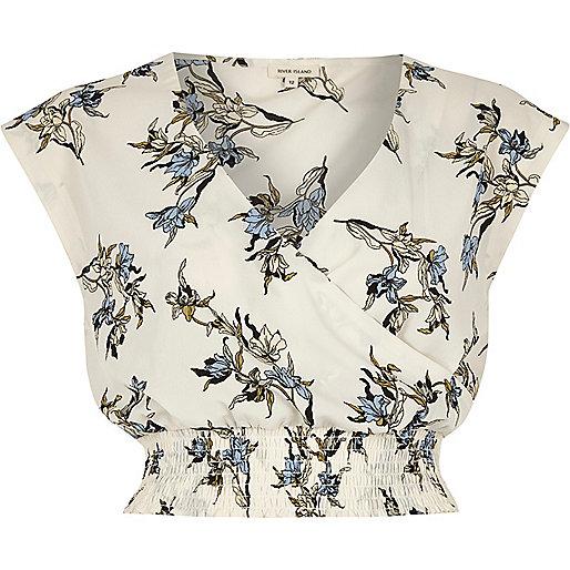 Cream floral print shirred wrap crop top