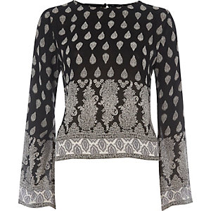 Black paisley bell sleeve top