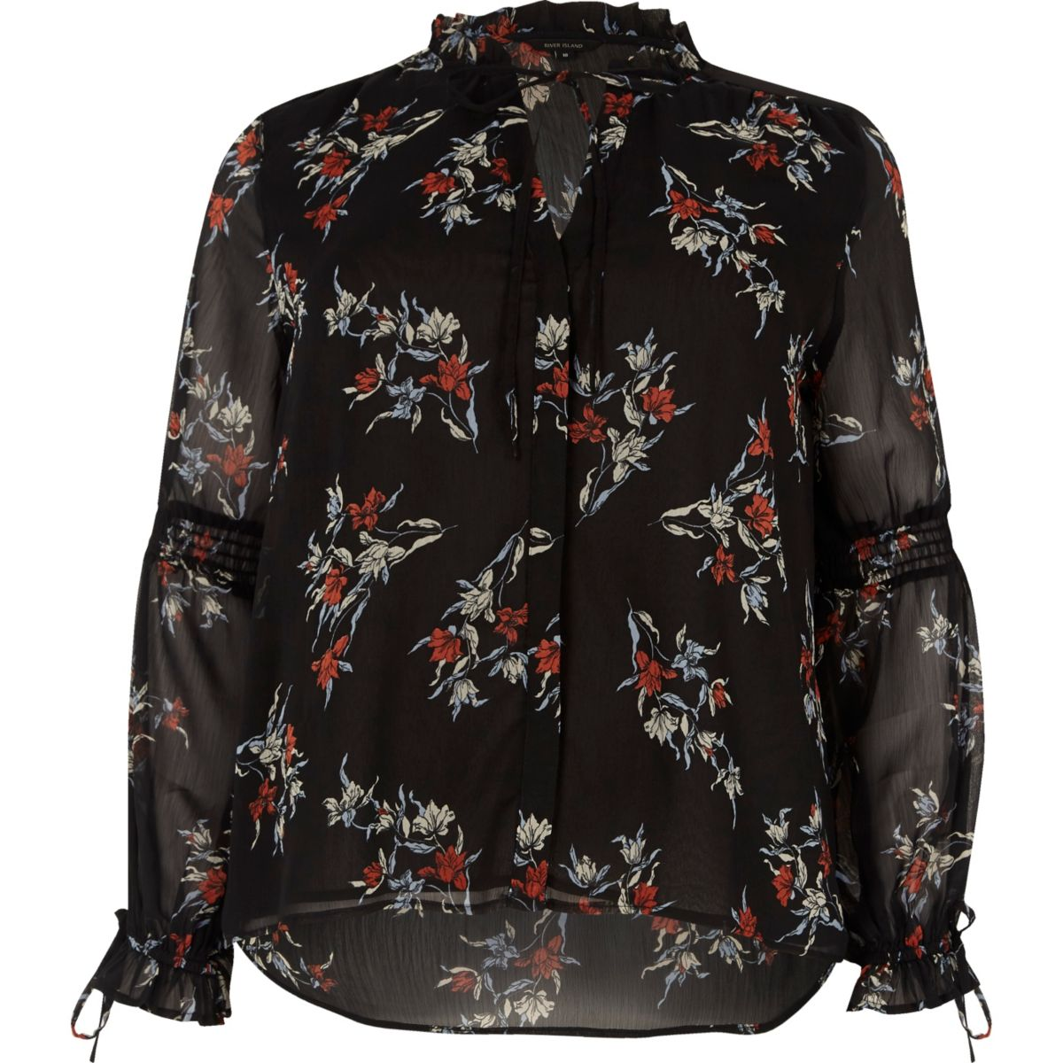 Black floral print frill long sleeve blouse