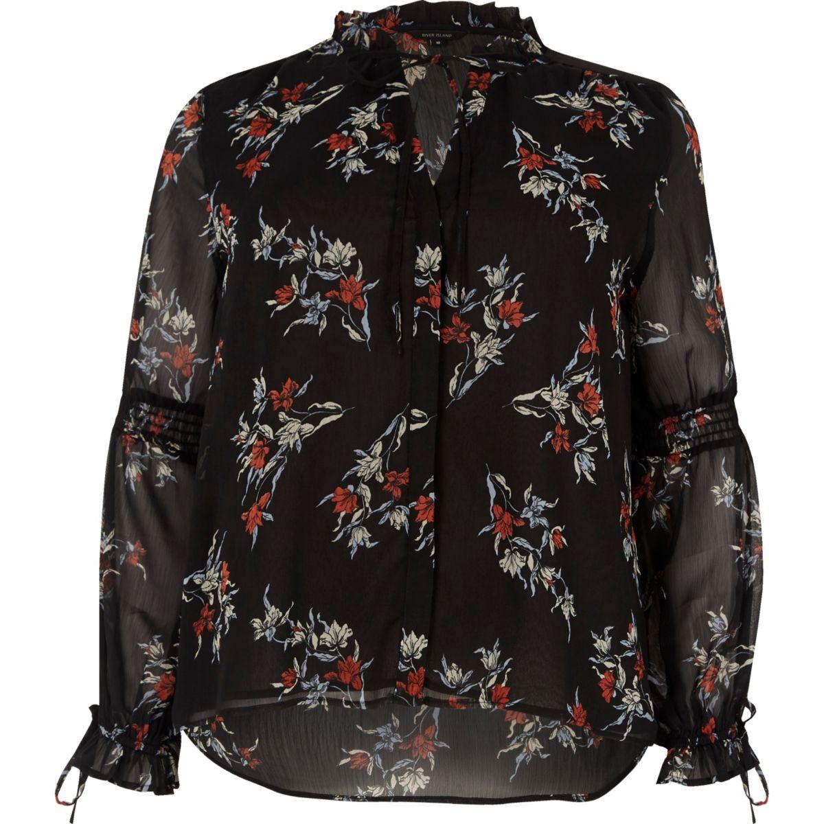 Zwarte blouse met lange mouwen, ruches en bloemenprint