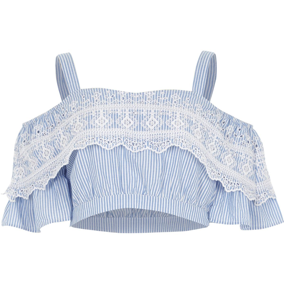 Blue stripe frill cold shoulder crop top