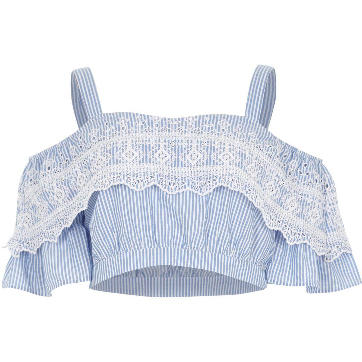 Blue stripe frill cold shoulder crop top