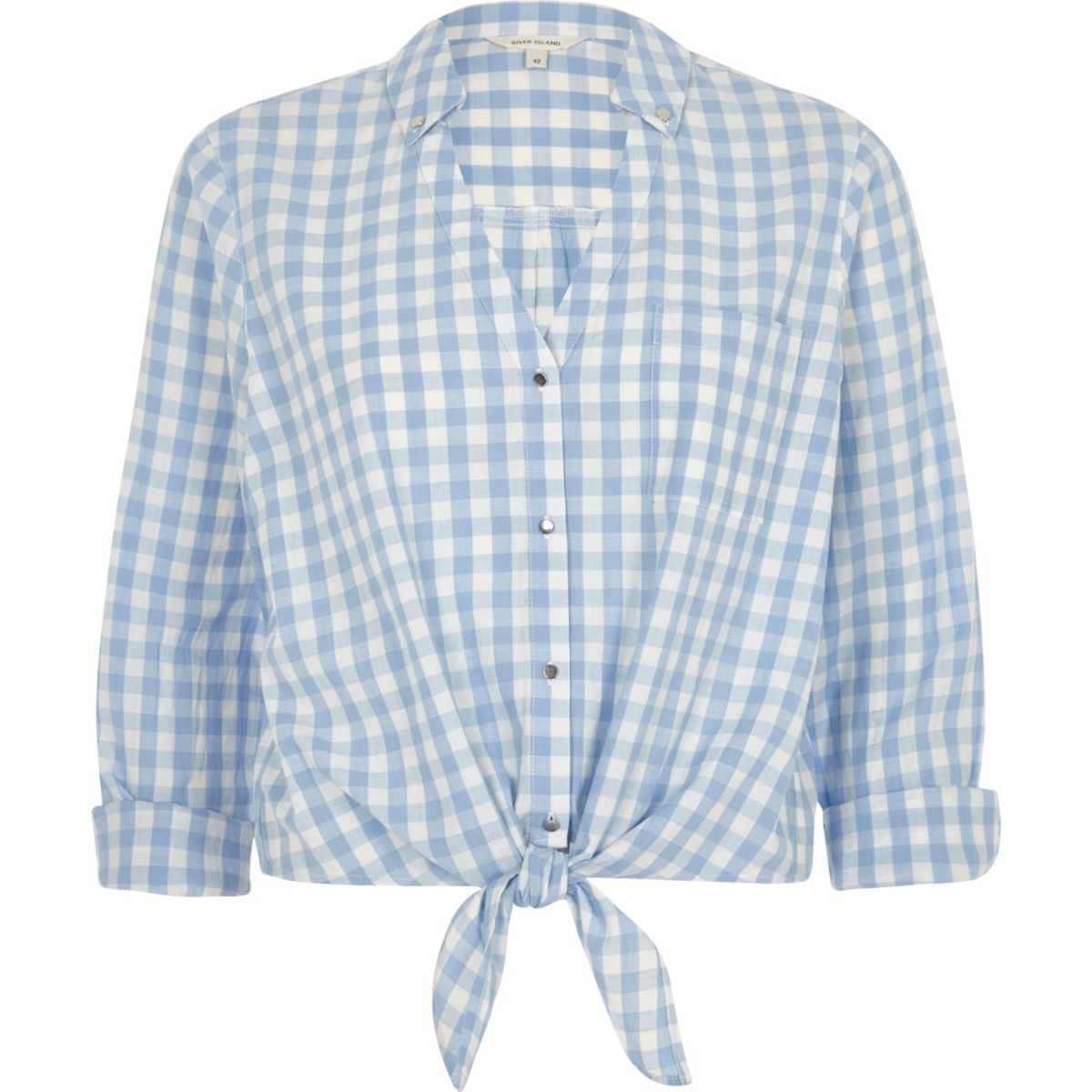 Blue gingham print tie front cropped shirt