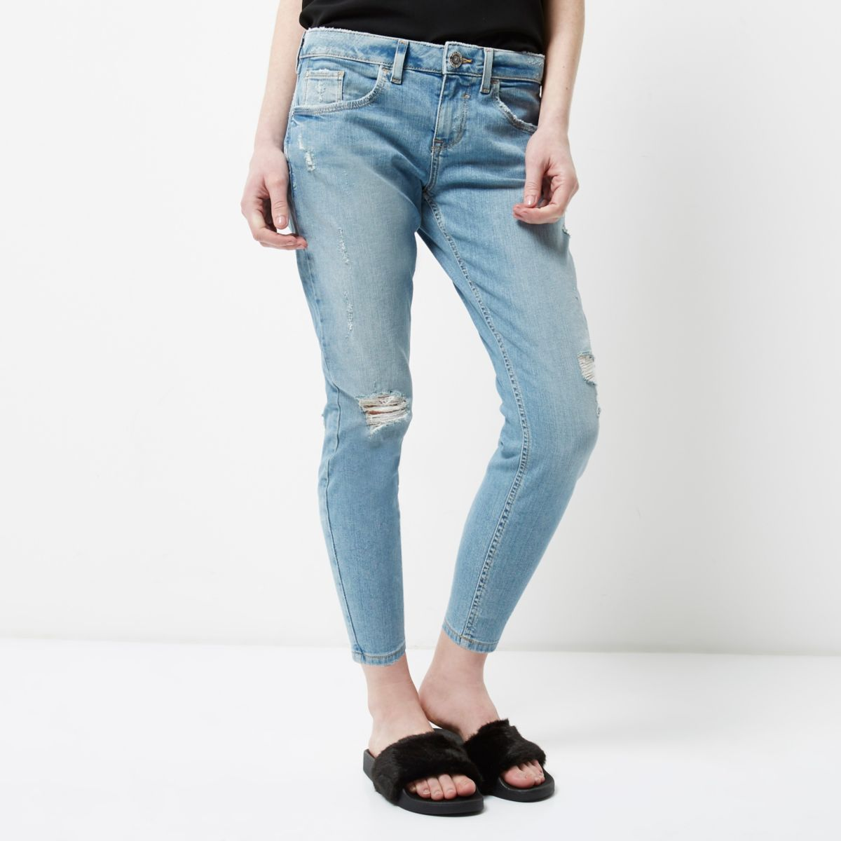 RI Petite - Alannah - Blauwe ripped relaxte skinny jeans