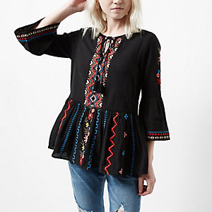 Petite black embroidered bell sleeve top