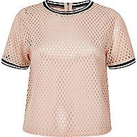 Pink sporty mesh T-shirt