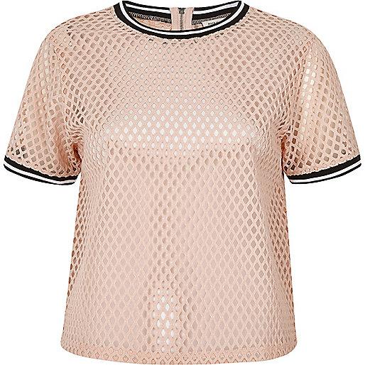 T-shirt sport en tulle rose