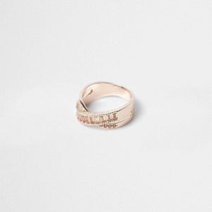 Rose gold rhinestone crossover ring