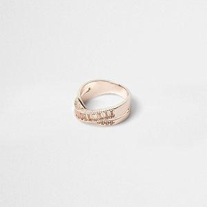 Rose gold rhinestone crossover ring