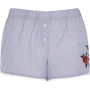 Blue stripe floral embroidered pajama shorts