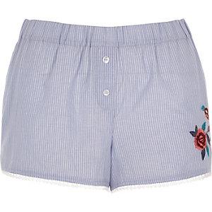 Short de pyjama rayé bleu à fleurs brodées