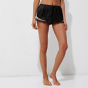 Black satin floral lace hem pajama shorts