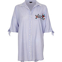Blue stripe embroidered oversized nightshirt