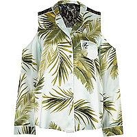 Blaues Pyjama-Hemd mit Palmenprint und Schulterausschnitten