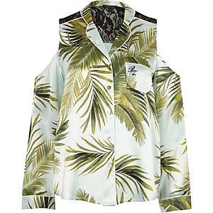 Blue palm print cold shoulder pyjama shirt