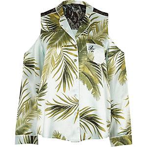Blauw schouderloos pyjamashirt met palmenprint