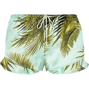 Blue palm print frill pajama shorts