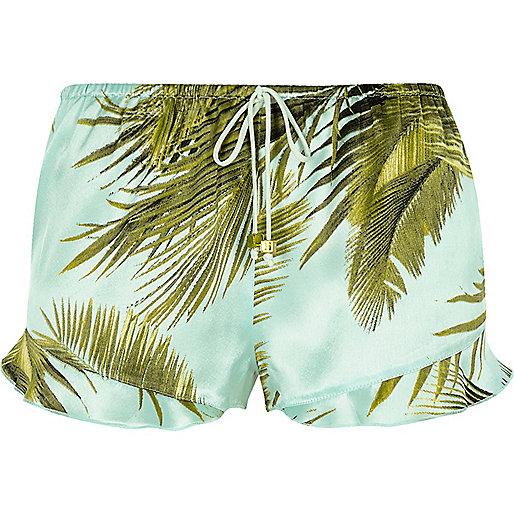 Blue palm print frill pajama shorts