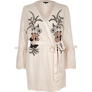 Pink floral embroidered frill sleeve robe