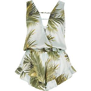 Blue palm print strap front sleeveless romper