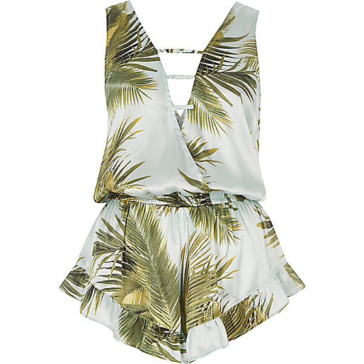 Blue palm print strappy front playsuit