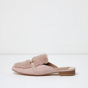 Rose loafers zonder achterkant met imitatiebont